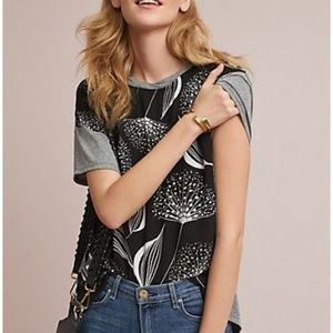 Anthro TLA Dandelion Printed Mix Media Top XS